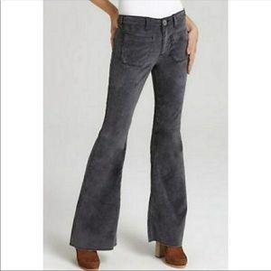 Free People velvet gray high rise wide leg pants